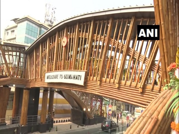 An over-bridge primarily decorated with bamboo inaugurated in Guwahati.