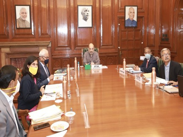 Home Minister Amit Shah during the meeting on Monday. (Image Source: @HMOIndia Twitter handle)
