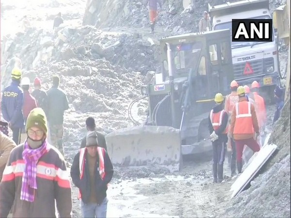 Rescue operation at Tapovan tunnel in Chamoli intensified on Tuesday. (Photo/ANI)