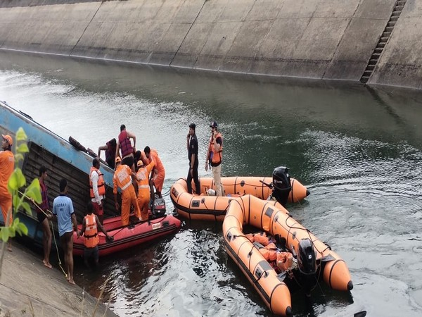 Death toll mounted up to 50, after bus fell into canal in Madhya Pradesh on Tuesday. (Photo/ANI)