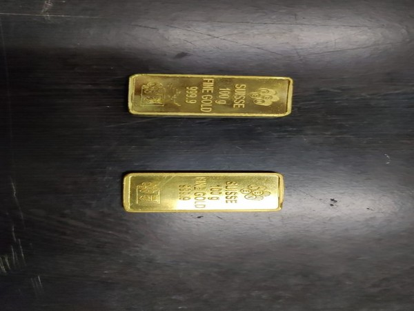 Seized gold biscuits seized at Jaipur airport.