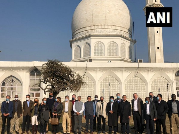 Foreign envoys who are on a tour to Jammu and Kashmir visited the Hazratbal shrine in Srinagar on Wednesday. (Photo/ANI)