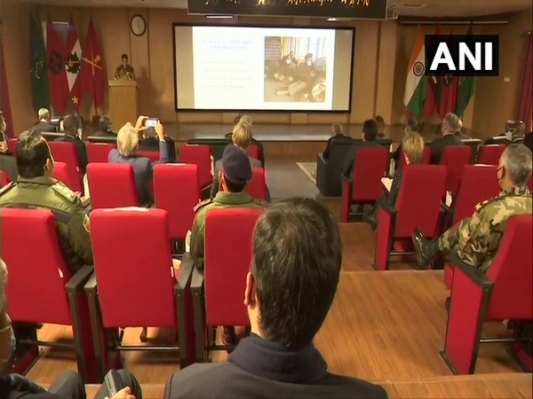 Foreign envoys' meeting with Indian Army and Jammu and Kashmir Police on Thursday. (Photo/ANI)