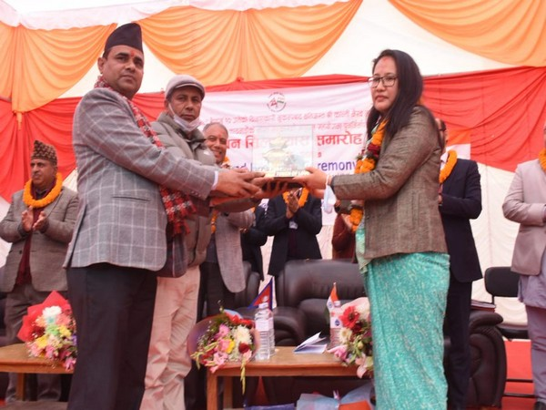 Namgya Khampa, Deputy Chief of Indian Embassy joined Sushil Gyewali, CEO of NRA at the ground breaking ceremony for construction of Kanti Bhairav Secondary School in Kageshwari Municipality