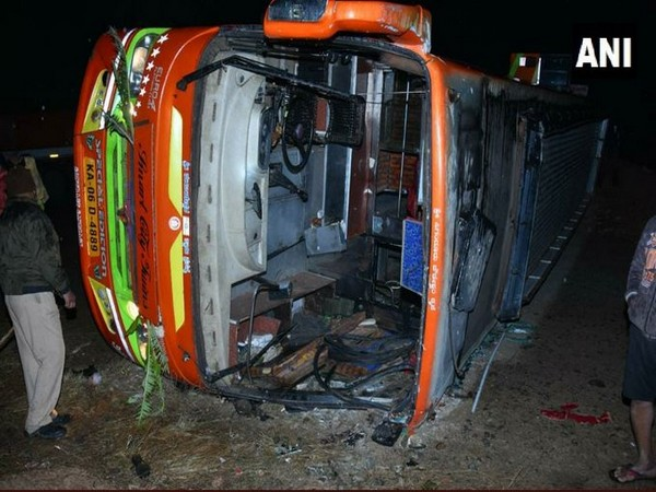 Image of the bus that turned turtle in Tumakuru