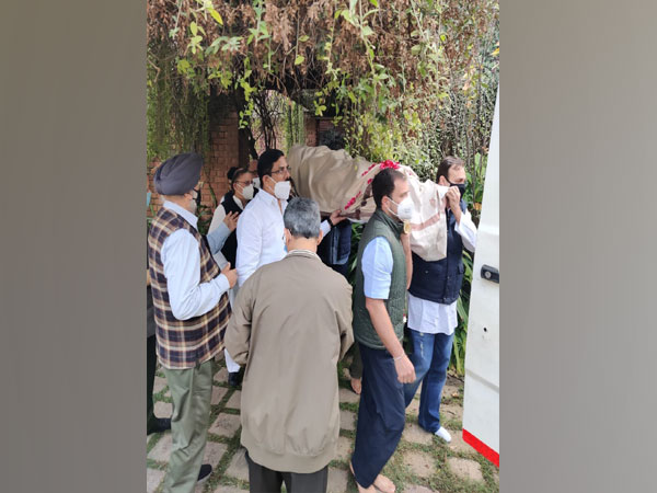 Rahul Gandhi was one of the pallbearers to mortal remains of Captain Satish Sharma (Photo/ANI)