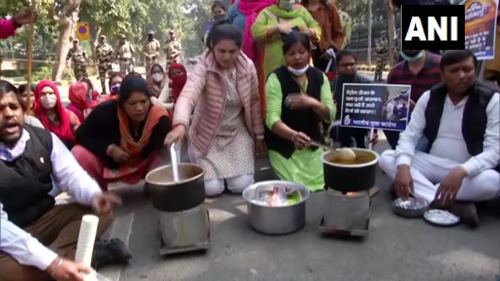 Image result for Protests against fuel price hike by Congress in MP, Rajasthan, Delhi