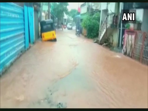 Waterlogging in Puducherry after continuous rainfall (Photo/ANI)