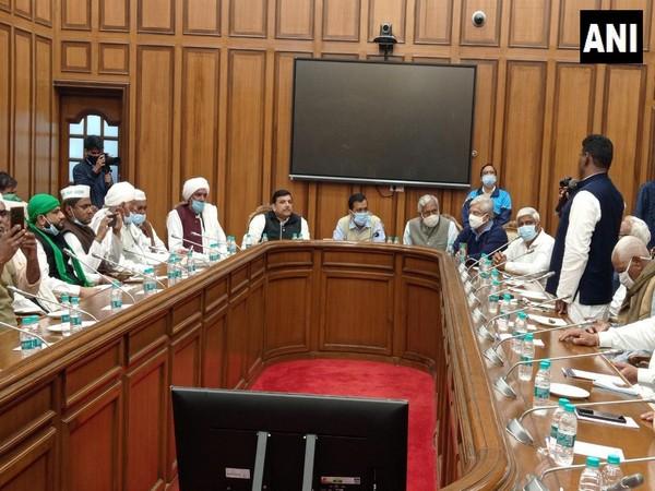 Delhi CM Arvind Kejriwal holding meeting with farmer leaders from Western Uttar Pradesh (Photo/ANI)