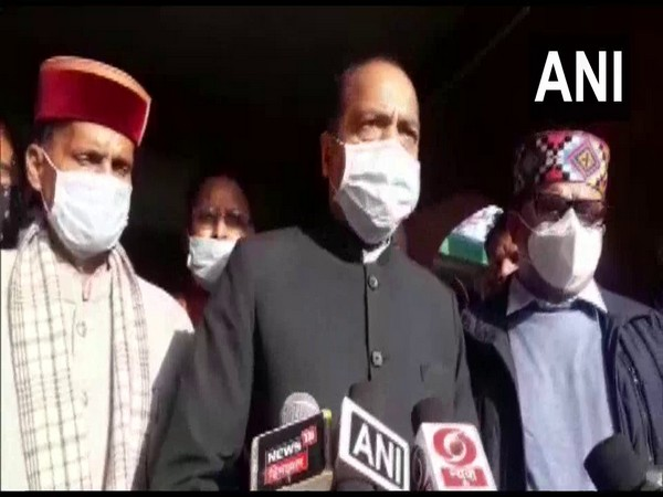 Himachal Pradesh Chief Minister Jai Ram Thakur speaks to reporters in Mandi on Sunday. [Photo/ANI]