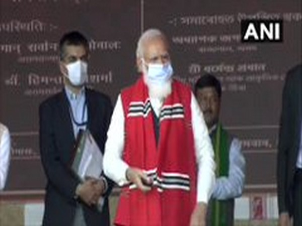 Prime Minister Narendra Modi addressing a crowd in Assam. (Photo/ANI)