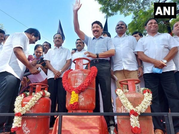 DMK MP Dayanidhi Maran during a protest in Chennai. (Photo/ANI)