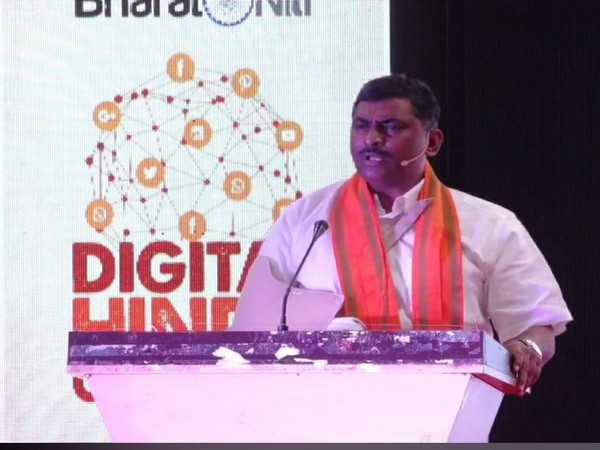 Muralidhar Rao addresses Digital Hindu Conclave in Hyderabad on Sunday.