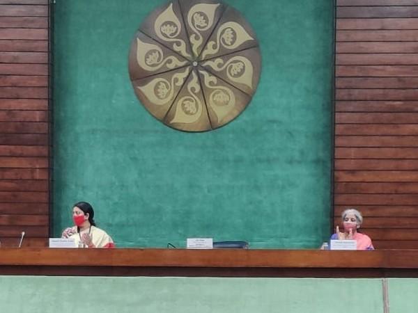 Union Ministers Smriti Irani and Nirmala Sitharaman at a program organised on Internation Women's Day in New Delhi on Monday. [Photo/ANI]