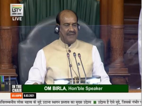 Lok Sabha Speaker Om Birla addressing the Lower house of Parliament on the occasion of International Women's Day on Monday. [Photo/ANI]