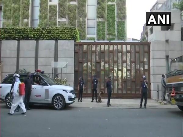 Security beefed up outside Mukesh Ambani's residence in Mumbai. (Photo/ANI)