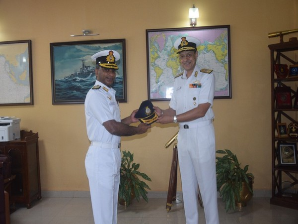 Rear Admiral S Venkat Raman assumes command of Naval War College, at Goa on Friday. (Photo/ANI)