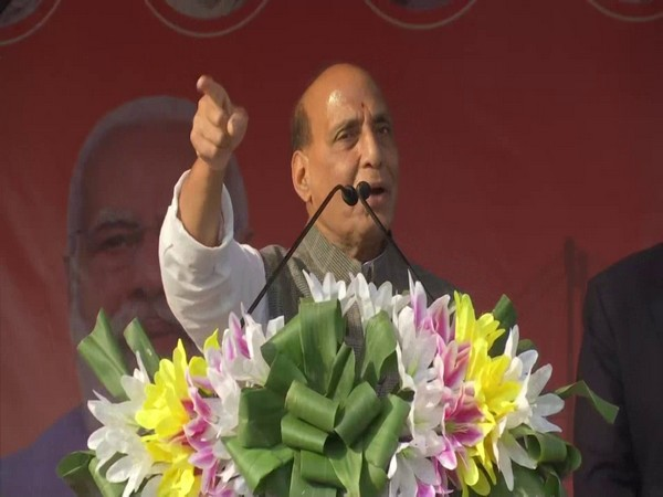 Defence Minister Rajnath Singh addresses a BJP rally in West Bengal's Balurghat on Friday. [Photo/ANI]