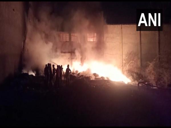 Visual of fire in a furniture factory in Navsari (Photo/ANI)