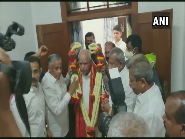 BS Yediyurappa greeted in his Bengaluru Office on his birthday. (Photo/ANI)