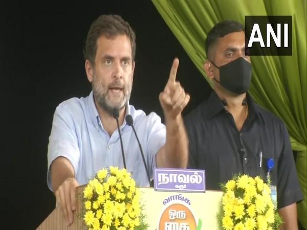 Congress leader Rahul Gandhi addresses a rally in Tirunelveli (Photo/ANI)