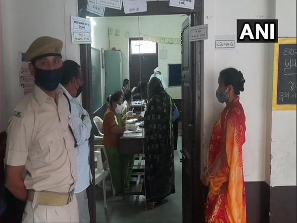 Voting underway in Dasharatha Adarsh   Primary School, Vadodara. (Photo/ANI)