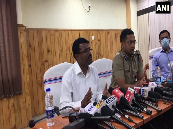 District Magistrate Purnendu Kumar Maji addressing a press conference. (Photo/ANI)