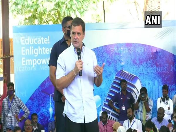 Congress leader Rahul Gandhi interacting with teachers at St Xavier's College in Tirunelveli. (Photo/ANI)