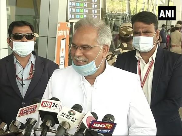 Chhattisgarh Chief Minister Bhupesh Baghel speaking to reporters. (Photo/ANI)