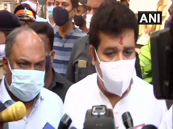 Shiv Sena's Sanjay Rathod speaks to reporters after submitting his resignation in Mumbai on Sunday. [Photo/ANI]