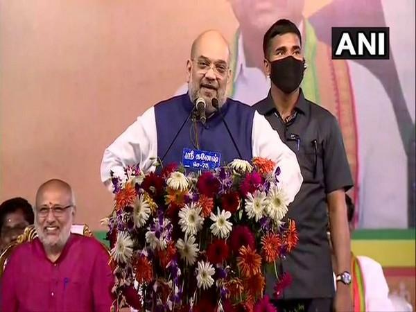 Amit Shah addresses Vijay Sankalp Rally in Villupuram on Sunday. [Photo/ANI]