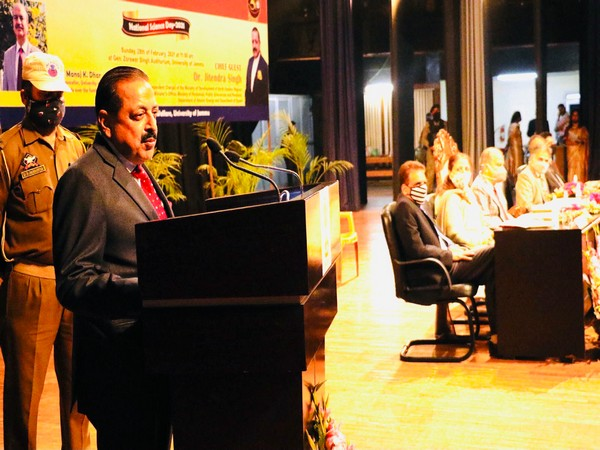 Jitendra Singh addresses on National Science Day in Jammu on Sunday.