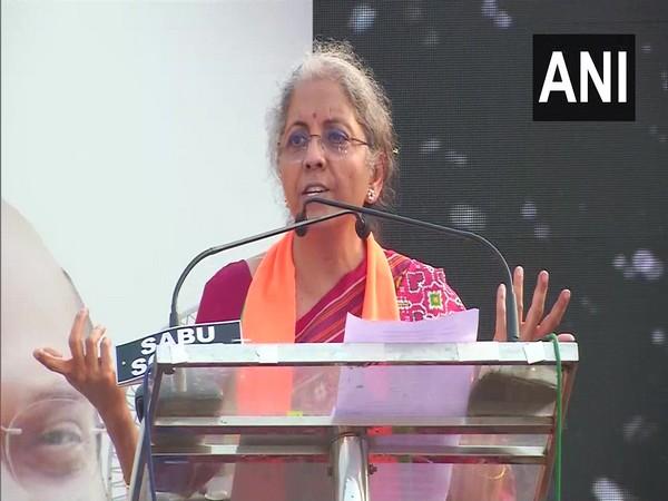 Finance Minister Nirmala Sitharaman speaking in a rally on Sunday. (Photo/ANI)