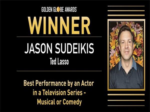 Jason Sudeikis wins Golden Globe (Photo/ Golden Globe Awards Twitter)