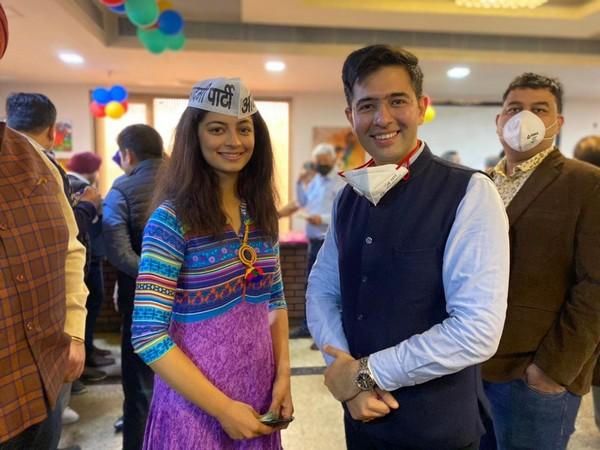 Mansi Sehgal with Raghav Chadha. (Photo/ANI)
