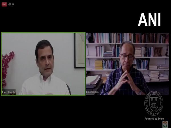 Congress leader Rahul Gandhi in conversation with Prof Kaushik Basu of Cornell University (Photo/ANI)