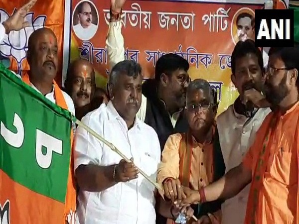 TMC leader Jitendra Tiwari at BJP public meeting in Hooghly (Photo/ANI)