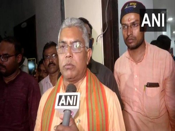 BJP leader Dilip Ghosh speaking to ANI. (Photo/ANI)