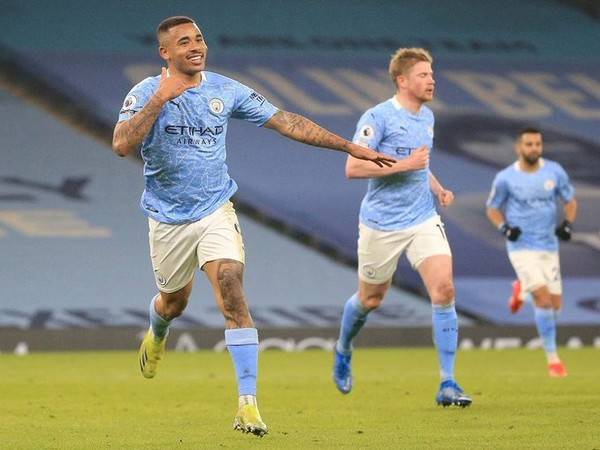 Gabriel Jesus celebrates after scoring goal against Wolves (Photo/ Gabriel Jesus Twitter)