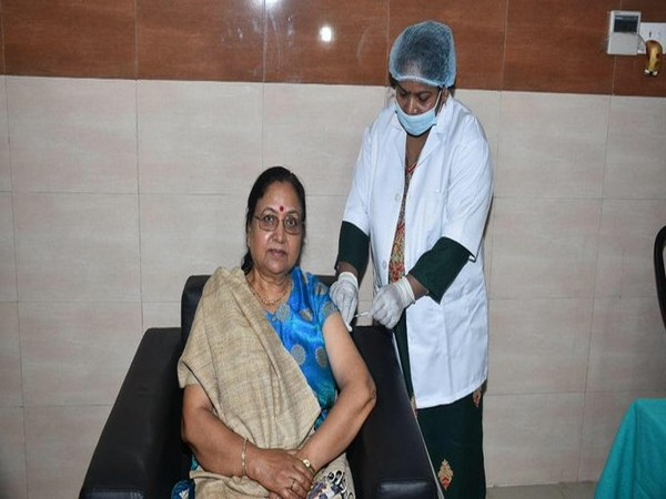 Uttrakhand Governor receiving her first dose of covid19 vaccine at Doon's Hospital