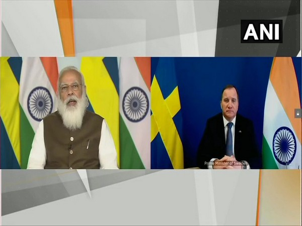 PM Narendra Modi at the virtual summit with Swedish PM Stefan Lofven