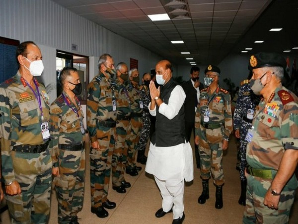 Defence Minister Rajnath Singh joined the Combined Commanders of the Armed Forces (Photo/ANI)