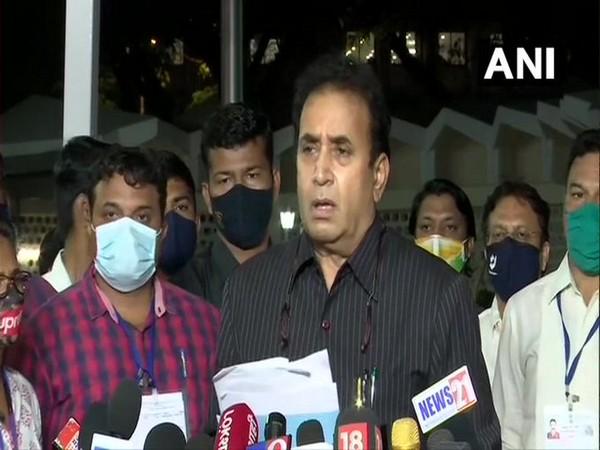 Maharashtra Home Minister Anil Deshmukh speaking to reporters (Photo/ANI)