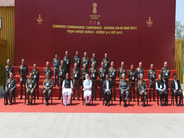 Prime Minister Narendra Modi at the Combined Commanders Conference in Gujarat's Kevadia on Saturday.