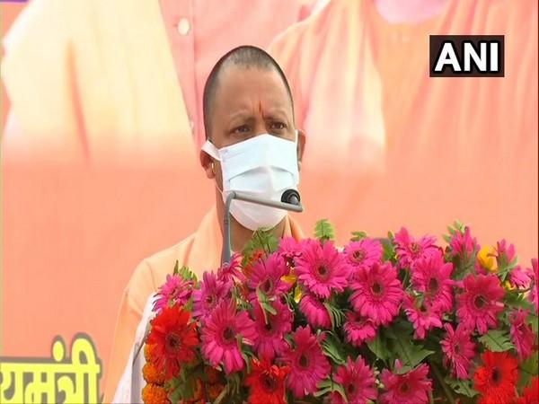 Yogi Adityanath addresses at an event organised on the death anniversary of Rani Avantibai Lodhi in Lucknow on Saturday [Photo/ANI]