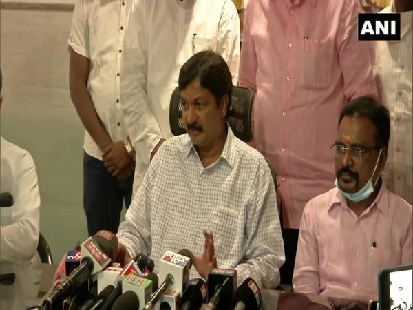 Former Karnataka Minister Ramesh Jarkiholi addressing a press conference. (Photo/ANI)