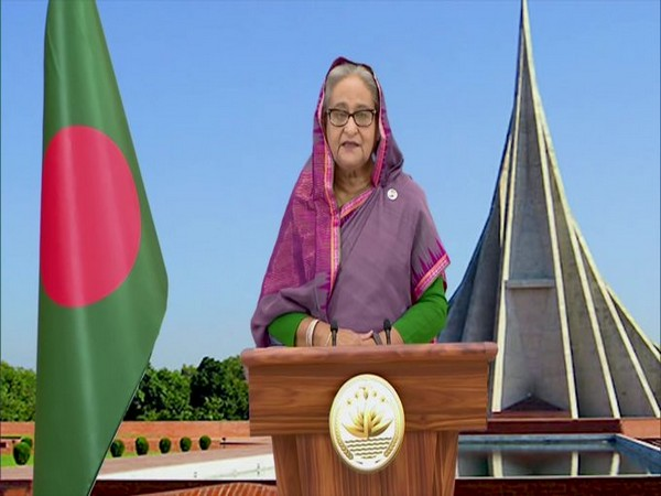 Bangladesh Prime Minister Sheikh Hasina speaking during the launch of Maitri Setu via video conferencing on Tuesday.