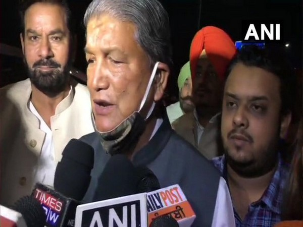 Harish Rawat speaks to reporters in Dehradun on Tuesday. [Photo/ANI]