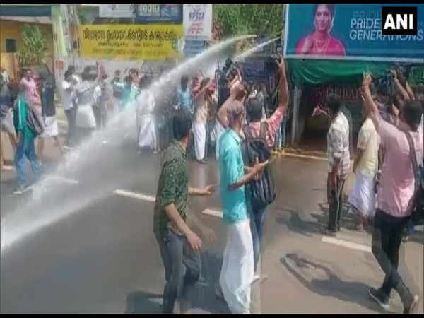 Police used water cannons to disperse a group protesting against postponement of Class 10, 12 exams in Kerala. [Photo/ANI]