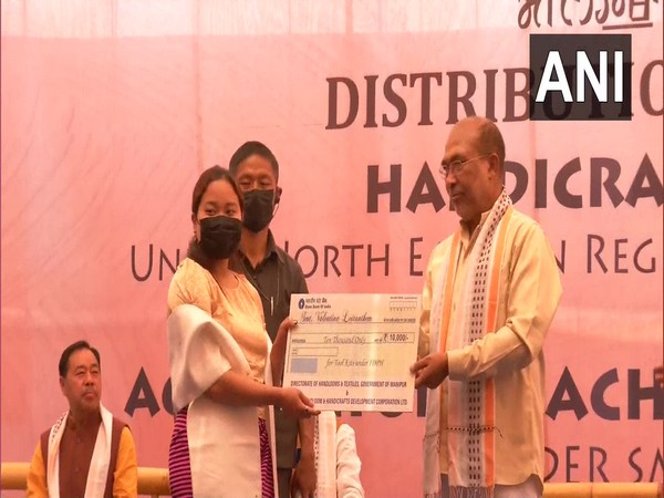 Manipur CM N Biren Singh distributed agriculture machinery to farmers, financial assistance to artisans (Photo/ANI)